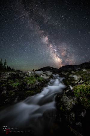 The Milky Way and wildflowers taken at Glacier Lake in the Eagle Cap Wilderness. Wallowa–Whitman National Forest, Oregon