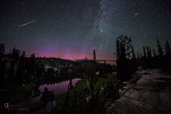 The Aurora Borealis, Milky Way, Andromeda Galaxy, and a lone Perseid meteor over Moccasin Lake in the Eagle Cap Wilderness. Wallowa–Whitman National Forest, Oregon