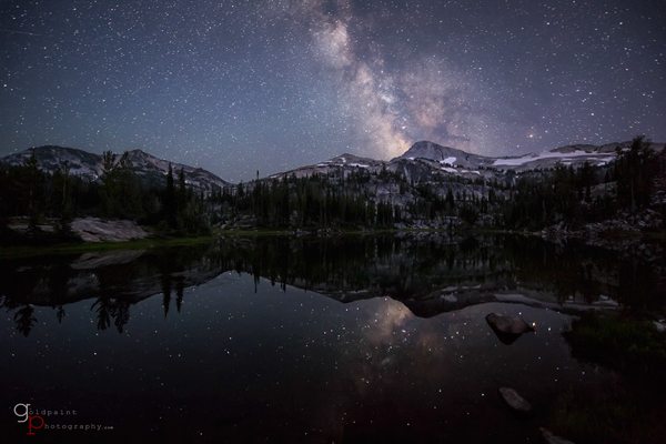 The Milky Way over Moccasin Lake in the Eagle Cap Wilderness.  Wallowa–Whitman National Forest, Oregon