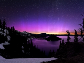 Aurora Borealis over Crater Lake